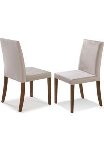 Cadeira De Jantar Luna - Kit Com 2 Peças - Mmj- 9094 - Castanho Claro - Tecido Bege Claro