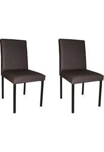 Conjunto Com 2 Cadeiras De Jantar Pitty Veludo Grafite