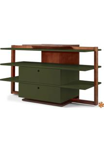 Rack Tv Com Prateleiras E 2 Gavetas De Madeira Laqueada Colorido Moderno Easy 871-0408 - 130X43X79Cm