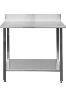 Mesa / Bancada De Apoio 100% Aço Inoxidável Com Espelho - 1M (100X70X90Cm) - Br-100C