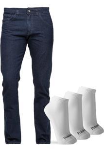 Kit Calça Jeans Preston Básica Marinho Com 3 Pares De Meias Polo Match Cano Curto M Branca