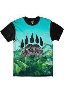 Camiseta Long Beach Pegada De Urso Palmeira Sublimada Masculina - Masculino
