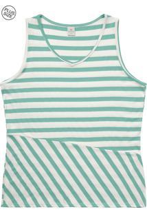 Blusa Lecimar Plus Em Malha Canelada Alto Verão G3 Verde Claro