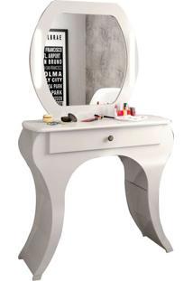 Penteadeira Vintage Tw131L Com Espelho E Led Off White Brilho