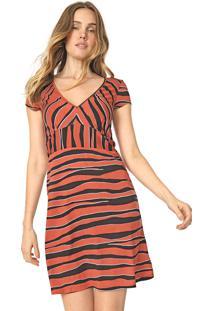Vestido Marialícia Curto Listrado Laranja/Preto