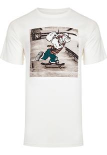 Camiseta Masculina Estampada Sk8 Poppeye - Off White