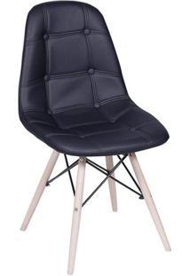 Cadeira Eames Botonãª- Preta & Madeira Clara- 83X44X3Or Design