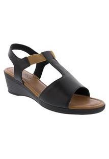 Sandália Usaflex Anabela Com Elástico Preto