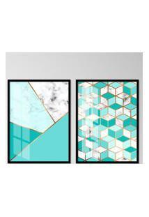 Quadro 65X90Cm Abstrato Escandinavo Azul Moldura Preta Decorativo Interiores.