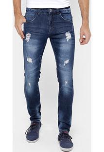 Calça Jeans Skinny Rock & Soda Rasgos Masculina - Masculino-Jeans