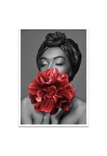 Quadro 60X90Cm Dandara Mulher Com Flor Vermelha Nórdico Moldura Branca Com Vidro