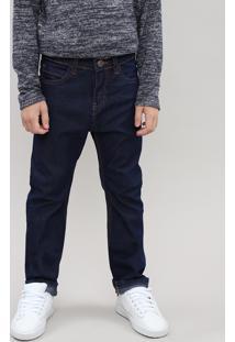 Calça Jeans Infantil Com Bolsos Azul Escuro