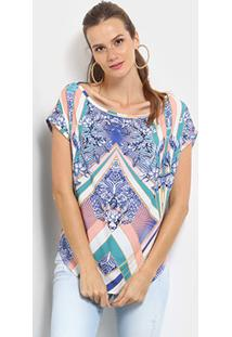 Blusa Triton Floral Estampada Degradê Feminina - Feminino-Azul+Verde