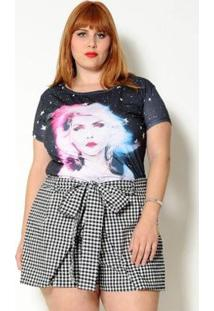 Short Vintage And Cats Plus Size Xadrez Vichy Com Laço - Feminino-Preto