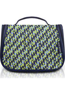 Nécessaire De Viagem Geométrica- Azul Escuro & Verde Limjacki Design