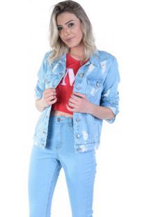Jaqueta Jeans Delavê Com Rasgos