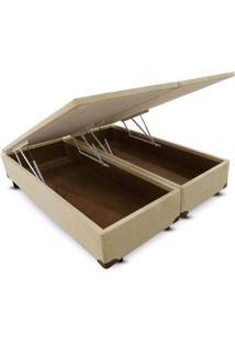 Cama Box King Bipartido Camurça Bege Baú Pistão Frontal - 180X200