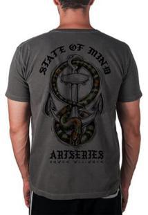 Camiseta Artseries State Of Mind Cobra & Âncora - Masculino-Grafite