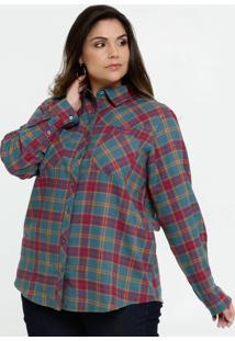 Camisa Feminina Xadrez Manga Longa Plus Size Marisa