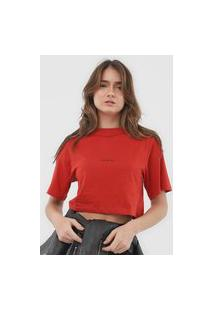 Camiseta Cropped Colcci Lettering Vermelha
