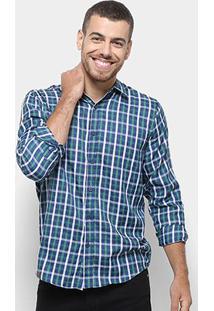 Camisa Xadrez Manga Longa Broken Rules Masculina - Masculino-Verde