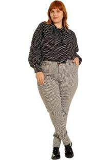 Calça Plus Size Skinny Vintage Mini Xadrez Feminina - Feminino-Preto