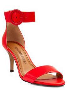 Sandalia Salto Medio Fivela Pintada Vermelho