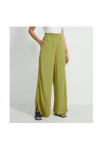 Calça Pantalona Em Viscose Com Elástico No Cós E Detalhe De Pespontos
