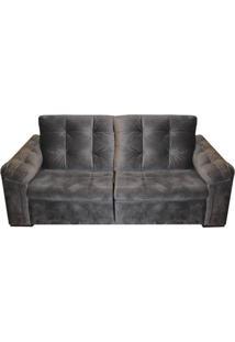 Sofa Vip Com 2 Lugares Assento Veludo Cinza Escuro Base Madeira - 55289 Sun House