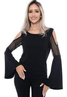 Blusa Manga Flare Ombros Vazados Talita B'Bonnie - Feminino-Preto