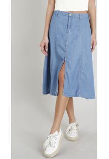 e90e0e778 CEA. Saia Jeans Feminina Com Fenda Azul Claro