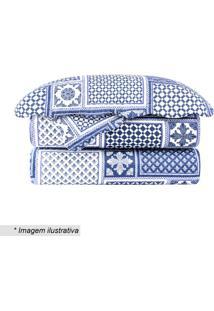 Conjunto De Colcha Evolution Isolda King Size- Azul & Brcamesa
