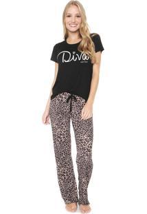 Pijama Any Any Feline Diva Preta/Bege