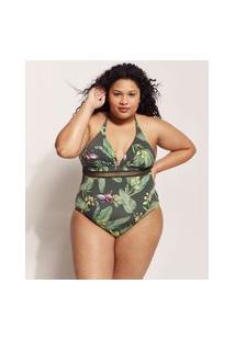 Maiô Body Plus Size Emi Beachwear Estampado Bananeiras Com Bojo Proteção Uv50+ Biodegradável Verde Escuro