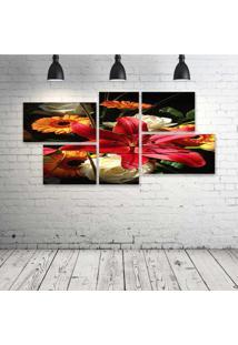 Quadro Decorativo - Flower259 - Composto De 5 Quadros - Multicolorido - Dafiti