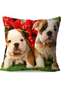 Capa De Almofada Avulsa Decorativa Baby Bulldog 35X35Cm