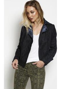 Jaqueta Em Sarja Com Tweed - Preta & Azul - Bobstorebobstore