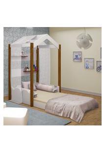 Cama Montessoriana Casa Solteiro Com Voal Branco Casah