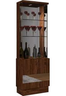 Cristaleira Vina Com 01 Porta Espelhada Rústico Malbec - Dj Móveis