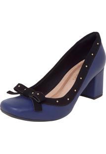 Scarpin Crysalis Bico Quadrado Tachinhas Noir Azul-Marinho/Preto