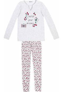 Pijama Feminino Em Malha De Algodão Com Estampa E Calça Legging