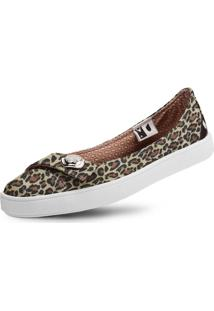Sapatilha Usthemp Womanly Vegano Casual Estampa Leopard Marrom