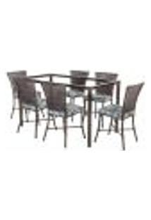 Jogo De Jantar 6 Cadeiras Turquia Pedra Ferro A06 E 1 Mesa Retangular Sem Tampo Ideal Para Área Externa Coberta