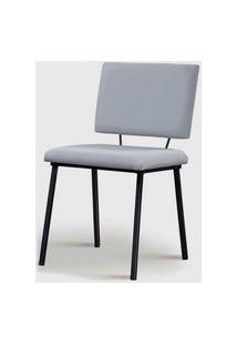 Cadeira Antonella Aço Preto Assento/Encosto Estofado Linho Gelo Daf