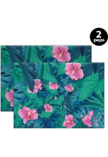 Jogo Americano Mdecore Floral 40X28Cm Verde 2Pçs