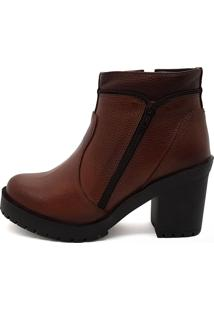 Bota Cano Curto Couro Stefanello Amelie Whisky - Tricae