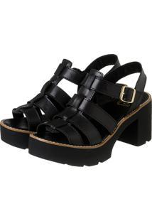 Sandália Três Tiras Salto Oxford Sintético