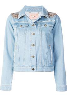 Twin-Set Embellished Shoulders Denim Jacket - Azul
