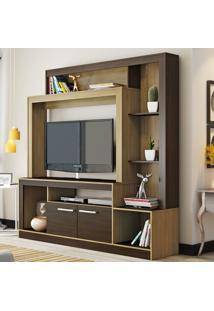 Estante Para Tv 180 Cm 02 Portas Es225 Castanho/Nogueira - Decibal Móveis