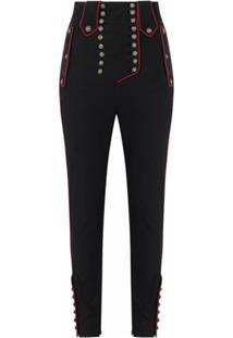 Dolce & Gabbana Calça Cintura Alta Com Abotoamento - Preto